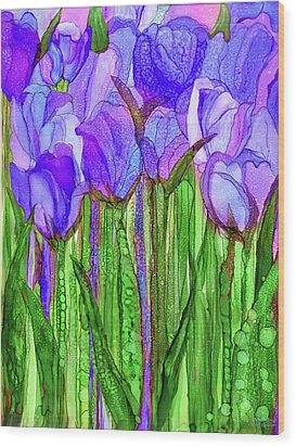 Wood Print featuring the mixed media Tulip Bloomies 1 - Purple by Carol Cavalaris
