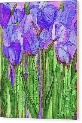 Tulip Bloomies 1 - Purple Wood Print by Carol Cavalaris