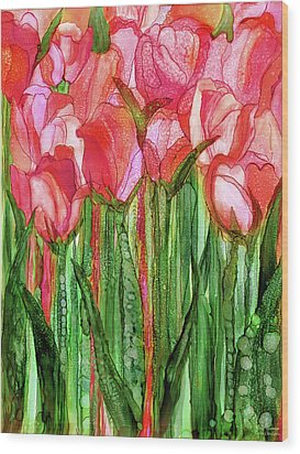Wood Print featuring the mixed media Tulip Bloomies 1 - Red by Carol Cavalaris