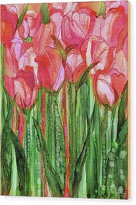 Tulip Bloomies 1 - Red Wood Print by Carol Cavalaris