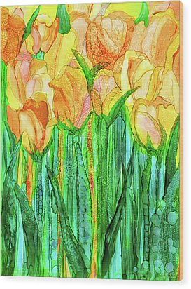 Wood Print featuring the mixed media Tulip Bloomies 1 - Yellow by Carol Cavalaris