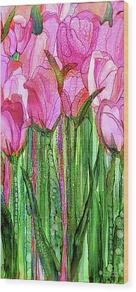 Wood Print featuring the mixed media Tulip Bloomies 2 - Pink by Carol Cavalaris