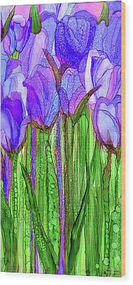 Wood Print featuring the mixed media Tulip Bloomies 2 - Purple by Carol Cavalaris