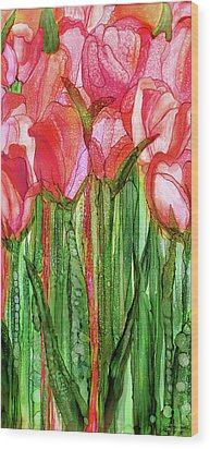 Wood Print featuring the mixed media Tulip Bloomies 2 - Red by Carol Cavalaris