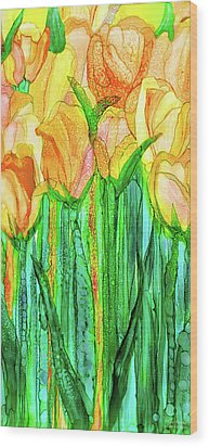 Wood Print featuring the mixed media Tulip Bloomies 2 - Yellow by Carol Cavalaris