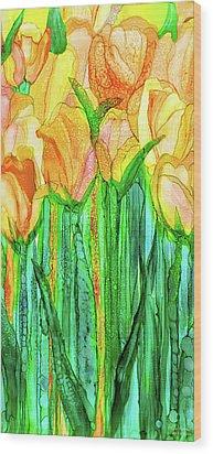Tulip Bloomies 2 - Yellow Wood Print by Carol Cavalaris