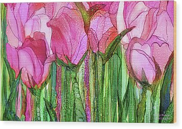 Wood Print featuring the mixed media Tulip Bloomies 3 - Pink by Carol Cavalaris