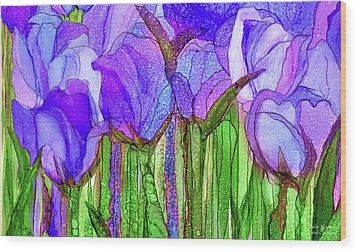 Wood Print featuring the mixed media Tulip Bloomies 3 - Purple by Carol Cavalaris