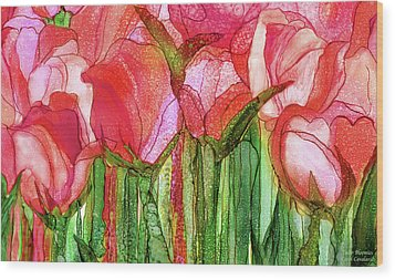 Wood Print featuring the mixed media Tulip Bloomies 3 - Red by Carol Cavalaris