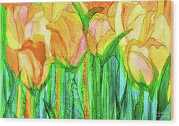 Wood Print featuring the mixed media Tulip Bloomies 3 - Yellow by Carol Cavalaris
