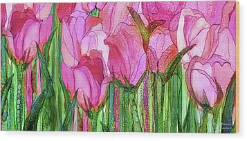 Wood Print featuring the mixed media Tulip Bloomies 4 - Pink by Carol Cavalaris