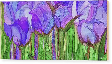Wood Print featuring the mixed media Tulip Bloomies 4 - Purple by Carol Cavalaris