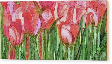 Wood Print featuring the mixed media Tulip Bloomies 4 - Red by Carol Cavalaris