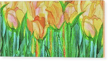 Wood Print featuring the mixed media Tulip Bloomies 4 - Yellow by Carol Cavalaris