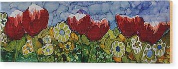 Tulip Bonanza Wood Print by Suzanne Canner