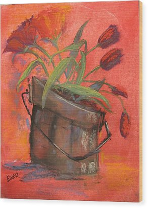 Tulip Bucket Wood Print
