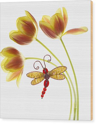Tulip Dragonfly Wood Print by Rebecca Cozart