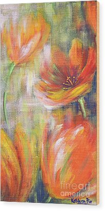 Wood Print featuring the painting Tulip Freedom by Kathleen Pio