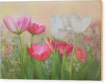 Wood Print featuring the painting Tulip Garden by Bonnie Willis