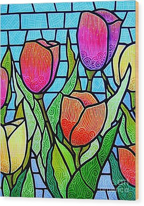 Wood Print featuring the painting Tulip Garden by Jim Harris
