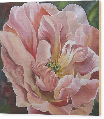 Wood Print featuring the painting Tulip In Pink by Alfred Ng