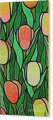 Wood Print featuring the painting Tulip Joy 2 by Jim Harris