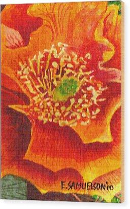 Tulip Prickly Pear Wood Print