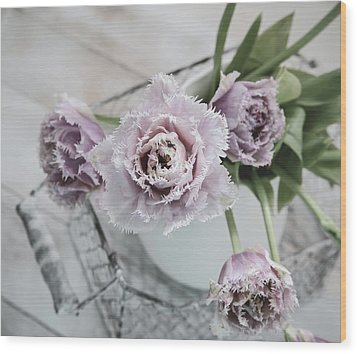 Wood Print featuring the photograph Tulip Ruffles by Kim Hojnacki
