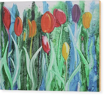 Wood Print featuring the painting Tulip Season by Nancy Jolley