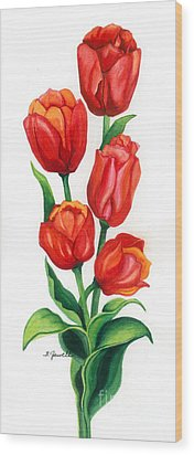 Tulip Time Wood Print by Barbara Jewell