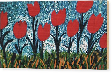 Wood Print featuring the painting Tulip Time by John Scates