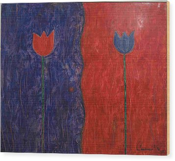 Wood Print featuring the painting Tulip by Walter Casaravilla