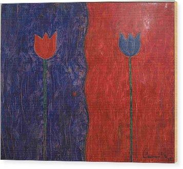 Tulip Wood Print by Walter Casaravilla
