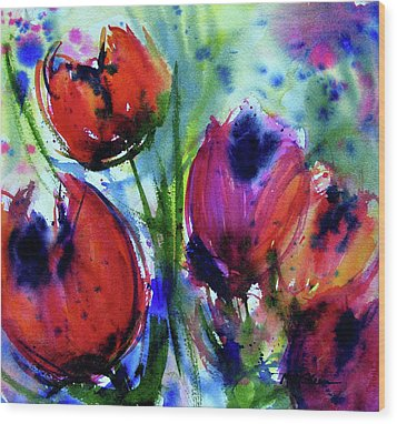 Wood Print featuring the painting Tulips 1 by Marti Green