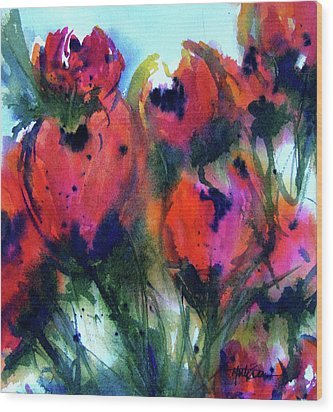 Wood Print featuring the painting Tulips 2 by Marti Green