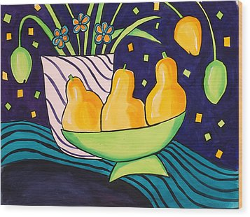 Tulips And 3 Yellow Pears Wood Print by Carrie Allbritton
