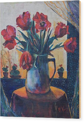 Tulips And Cacti Wood Print by Maxim Komissarchik