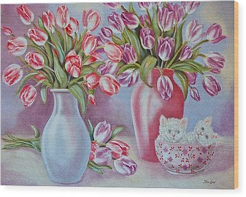 Tulips And Kittens Wood Print by Jan Law