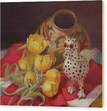 Wood Print featuring the painting Tulips And Pottery by Donelli  DiMaria