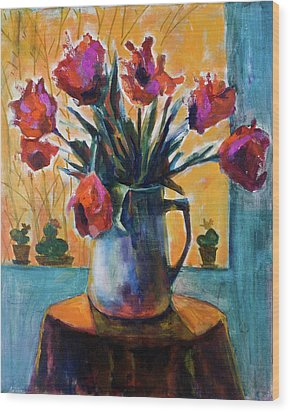 Tulips At Sunset Wood Print