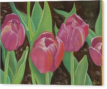 Tulips Wood Print by Candice Wright