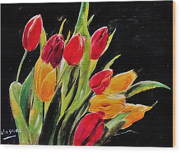 Tulips Colors Wood Print