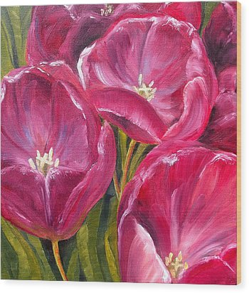 Wood Print featuring the painting Tulips by Diane Daigle