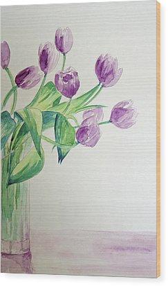 Tulips In Purple Wood Print by Julie Lueders