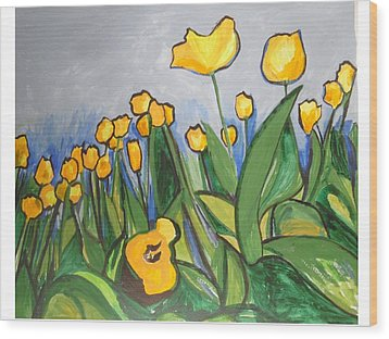 Wood Print featuring the painting Tulips In Springtime by Esther Newman-Cohen