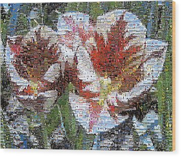 Tulips In Springtime Photomosaic Wood Print by Michelle Calkins