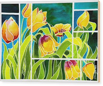 Tulips In Stained Glass Wood Print by Janis Grau