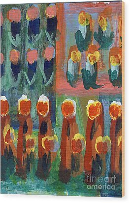 Wood Print featuring the painting Tulips by Jan Daniels