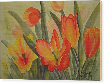 Tulips Wood Print by Joanne Smoley
