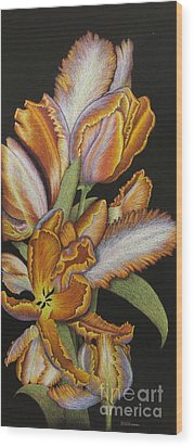 Tulips Of Fire Wood Print